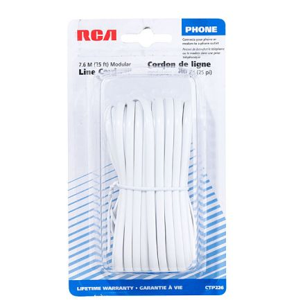 Modular Line Cord with Connections - 25' - White