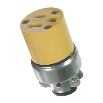 Bipolar connector. 15 A. 125 V. 2 poles, 3 wires. Yellow
