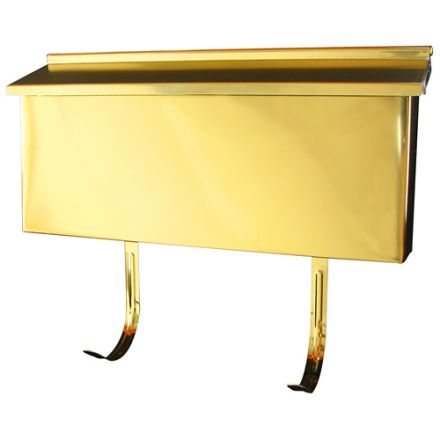 Ranch mailbox. Polished brass. 15 1/2 x 7 in.