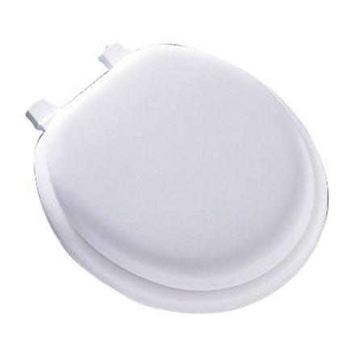 Siège de toilette coussiné, régulier, blanc