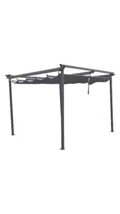 10' x 10' Pergola with retractable sun shade Charcoal Grey