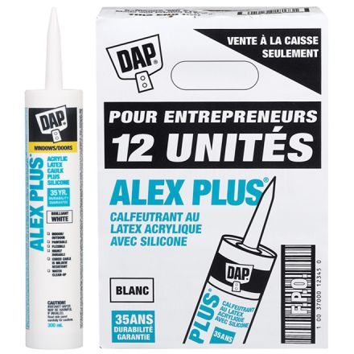 Scellant ALEX PLUS, latex acrylique et silicone, 12/bte, blanc
