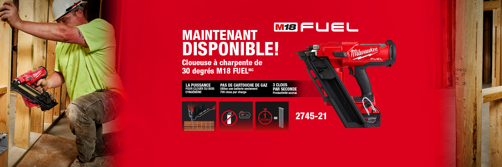 Maintenant disponible  - Cloueuse à charpente de 30 degrés  M18 Fuel -  2745-21